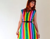 Sale - A GOGO V. Handmade Shift Rainbow Dress. 1960s Inspired. OOAK. Mod. Mini Dress. Fall Fashion. School Girl. Size Large