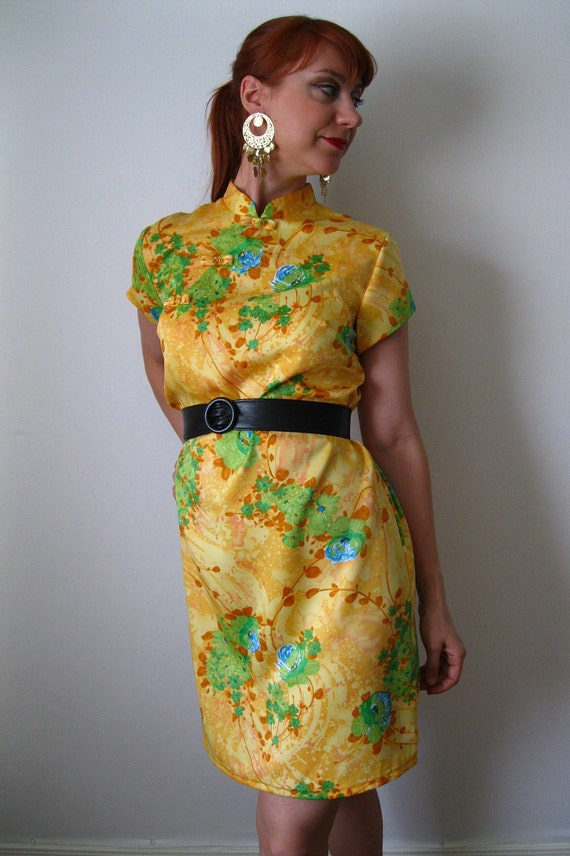 Vintage 1960s Yellow Asian Style Dress