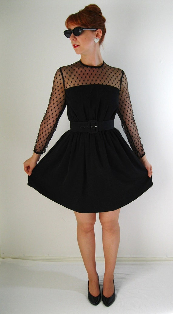 Lace And Dots Little Black Dress Audrey Hepburn Style