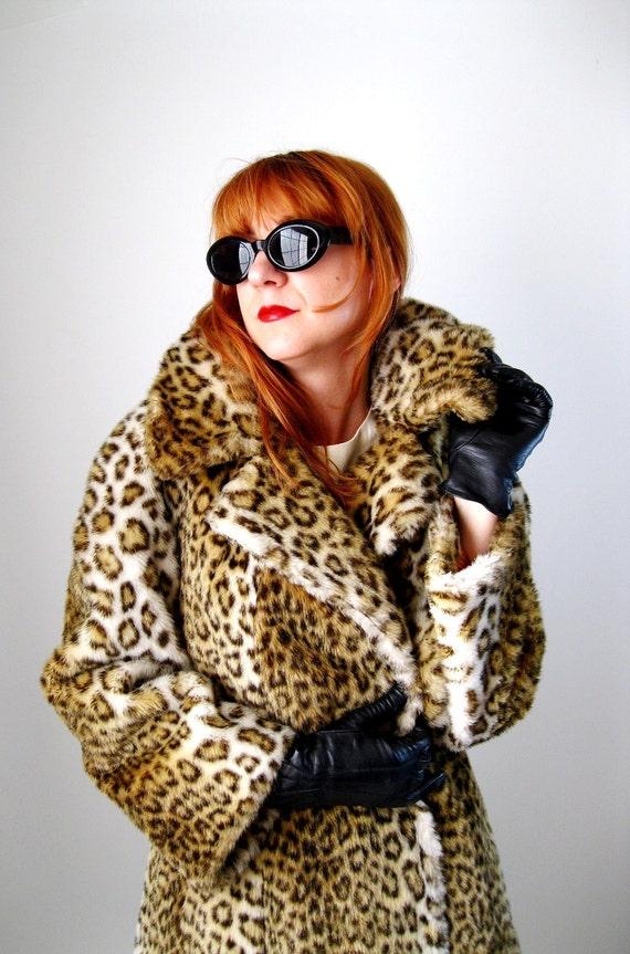 20% Off Sale--1960s Leopard Coat Faux Fur Long Glam Pinup Mad Men Fall Fashion Autumn Clothing Dress