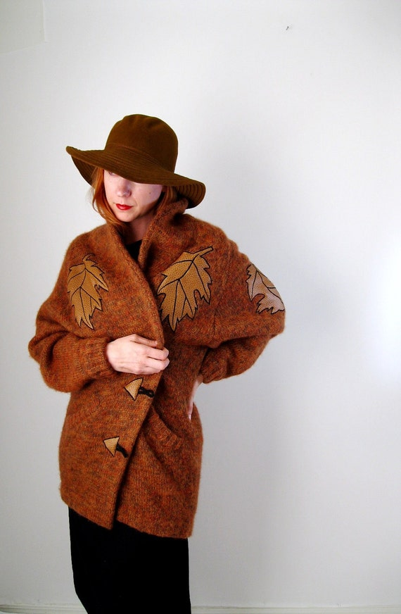 Brown Amber Wool Sweater Autumn Leaves Fall Fashion Warm Cozy