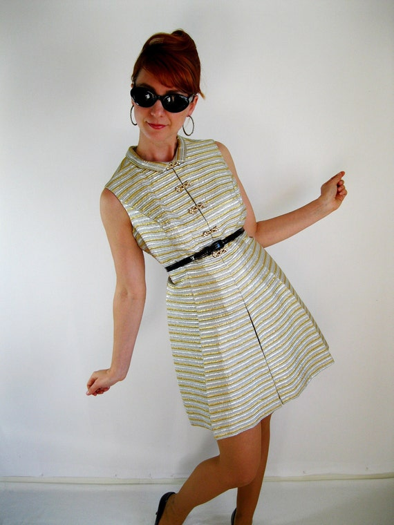 1960s Cocktail Dress. Silver. Mad Men Fashion.  Party.  Gold Glam.  Hipster. Metallic. Sexy Dress. Spring Fashion