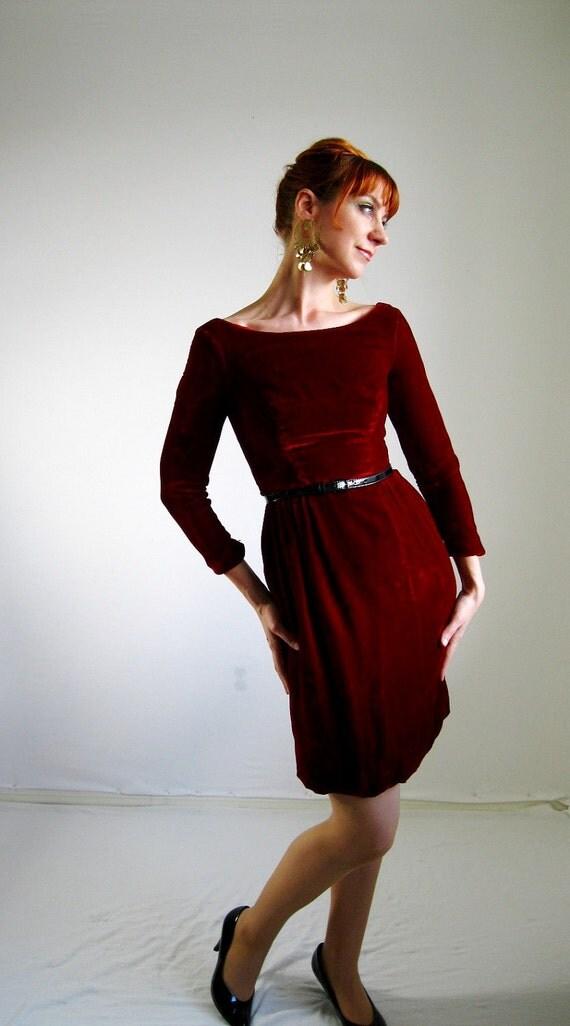 Sale 1960s Deep Red Velvet Dress Mad Men Office Cocktail Party
