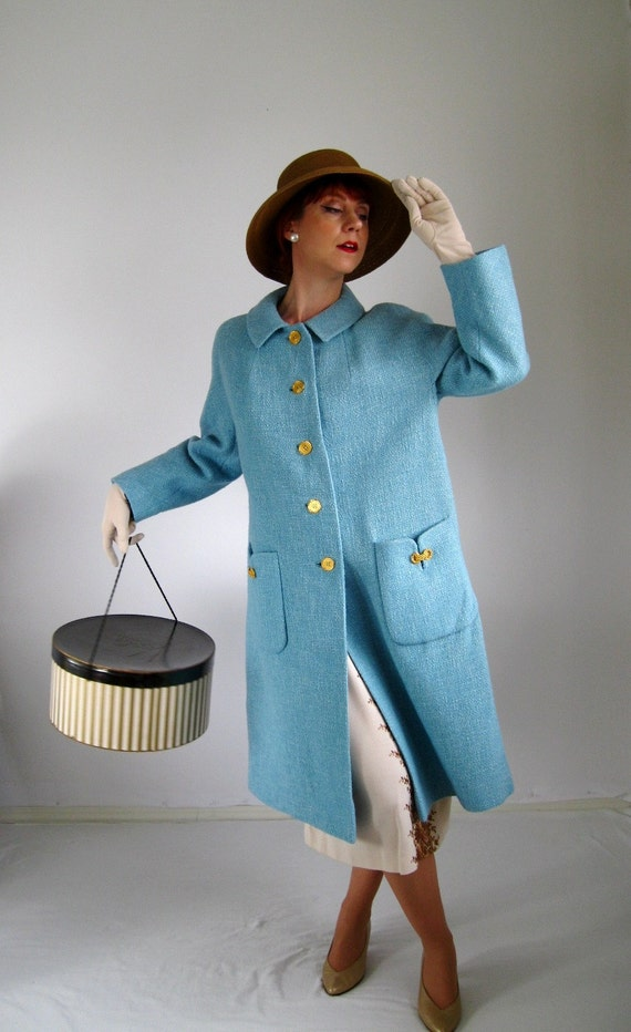STOREWIDE SALE- 1950s Coat. Baby Blue. Winter. Spring Fashion. Mad Men Fashion. Office Fashion. Pastel Fashion