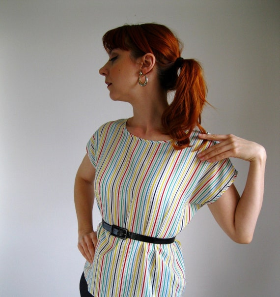 RESERVED for twofishinapond-- 1970s Blouse. Rainbow Stripes. Mad Men Fashion. Mod. Hipster. Spring Fashion. Office Fashion