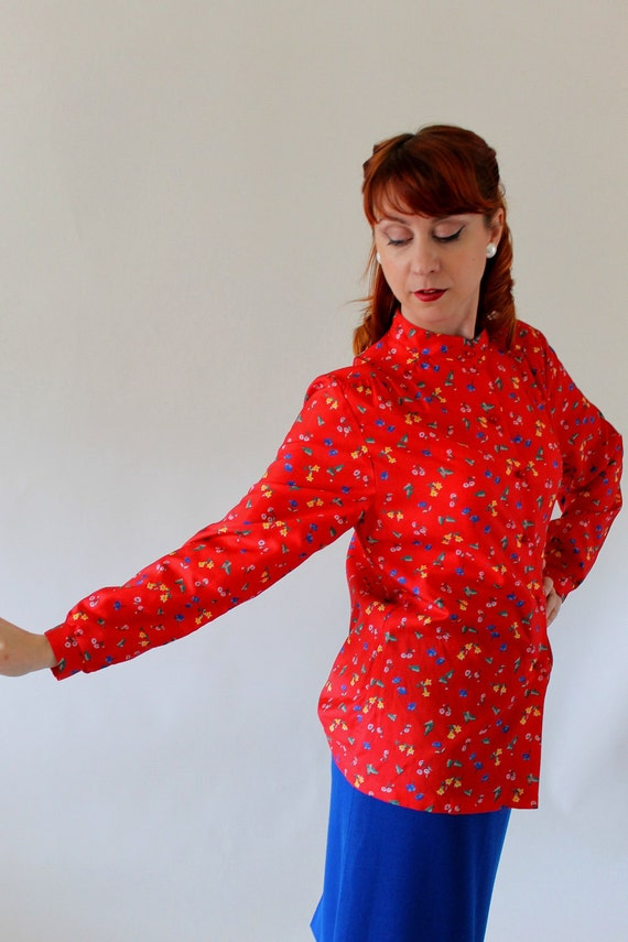 CLEARANCE-Red Floral Print Blouse. Office Spring Fashion. Summer Fashion