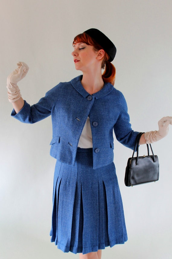 RESERVED for Katie--Vintage 1950s  Deep Blue Dress Suit. Mad Men Fashion . Office Fashion. Fall Fashion. Spring Fashion. Size Medium