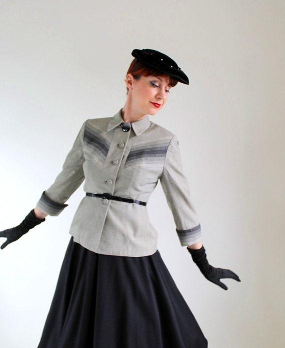 Vintage 1950s Lilli Ann Jacket. Gray Ombre. Chevron. Mad Men Fashion. Weddings. Designer