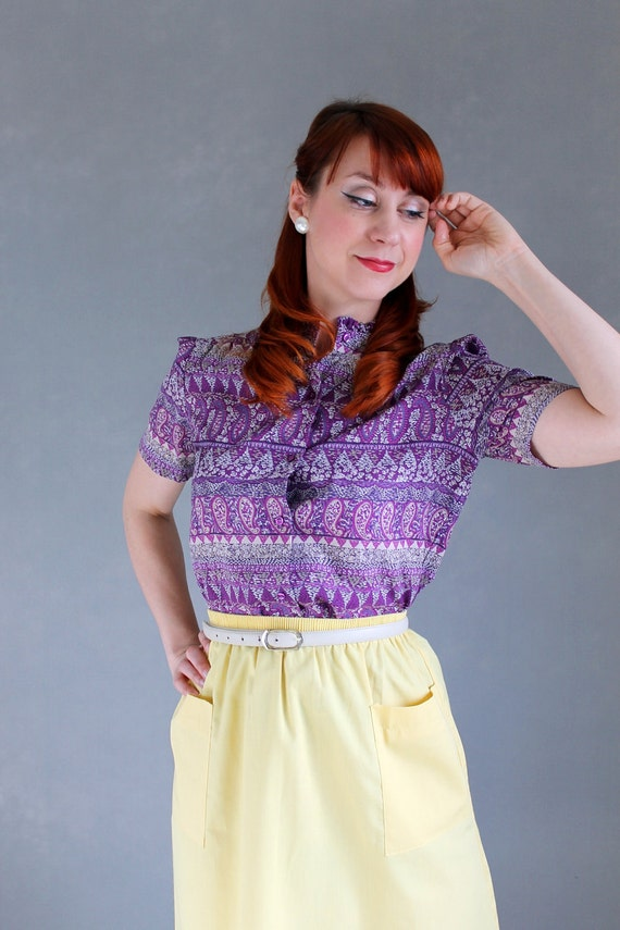 Clearance Sale -  Purple Blouse. Tribal Print. Office. Boho. Spring Fashion. Summer Fashion. Size Large