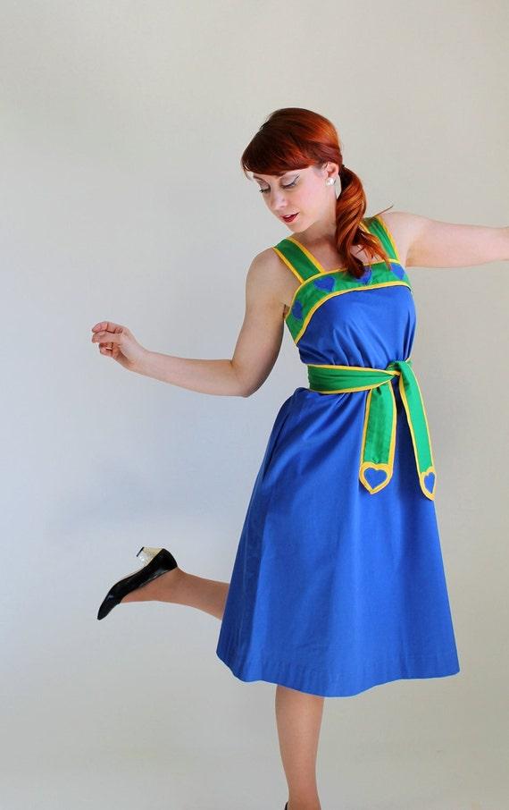 Sale - Vintage 1970s Dress. Blue Yellow Green. Sundress. Mod. Resort. Day Dress. Weddings. Fall Fashion. Back To School.  Size Large