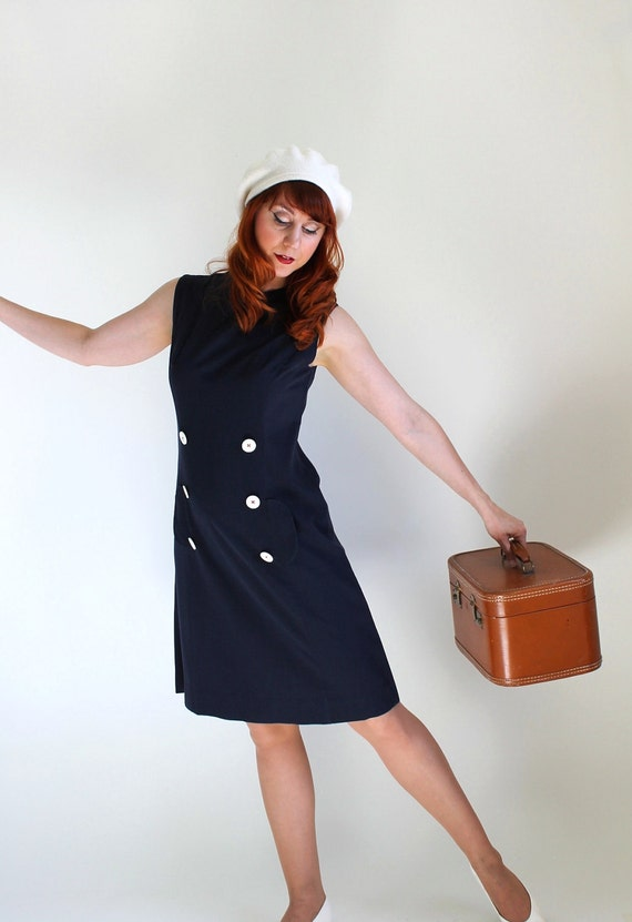 STOREWIDE SALE- 1960s Dress. Navy Blue. Shift Dress. Mod. Nautical. Office. Summer Dress. Mad Men Fashion. Size Large