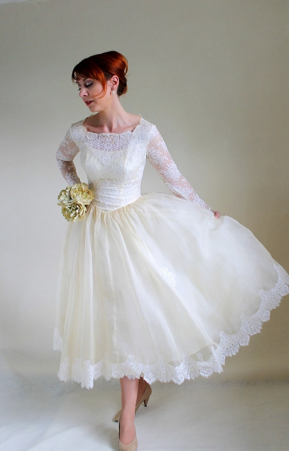 Sale vintage 1950s cream wedding dress mad men fashion for 1950s style wedding dresses for sale