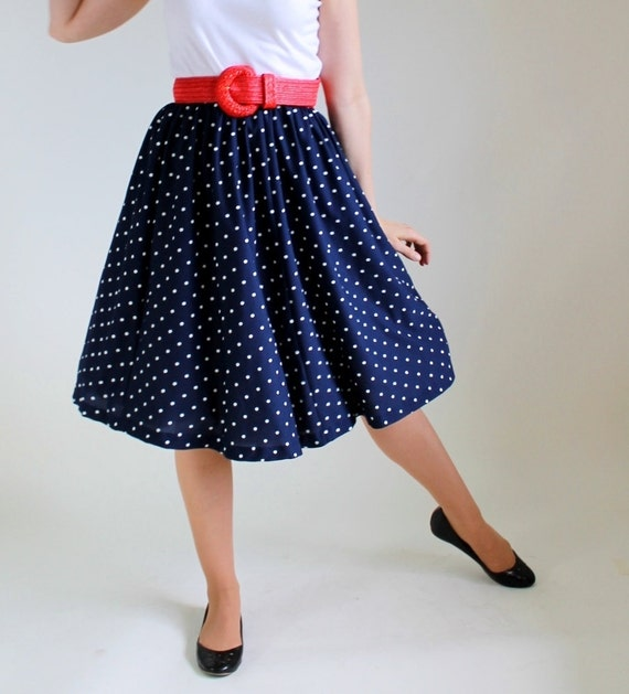 STOREWIDE SALE- 1970s Navy Polka Dot Skirt. Mad Men Fashion. Mod. Office. Summer. Size Large