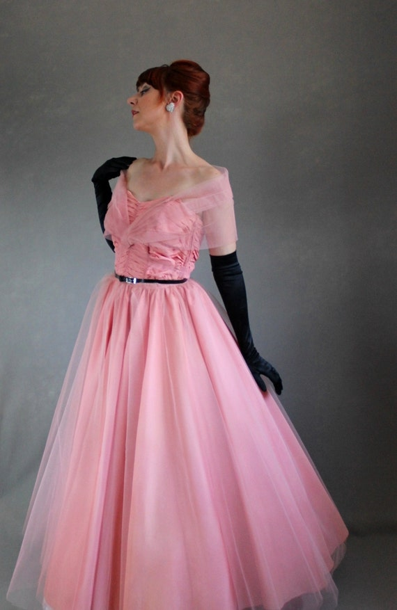 Sale 1950s Pink Party Prom Dress Mad Men Fashion Evening