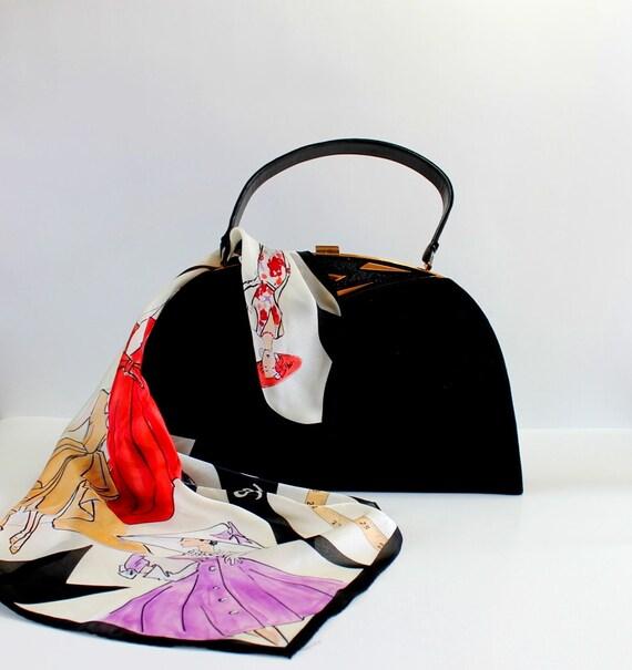 Sale - Vintage 1950s Black Suede Purse. Handbag. Metal Frame. Cocktail. Mad Men Fashion. Office Fashion. Weddings. Fall. Audrey Hepburn