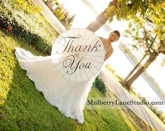 Custom Wedding Parasol, Thank You, Mr. & Mrs.