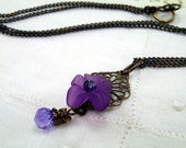 Say Violet Purple Flower and Crystal Briolette Brass Necklace