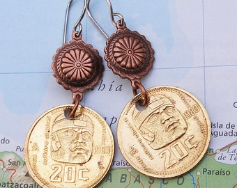 Mexico, Vintage Coin Earrings -- Ancient Culture - - Olmec - Lost Worlds - Ballplayer - Relics - Colossal Heads - Big Head - Fat Head - 1983