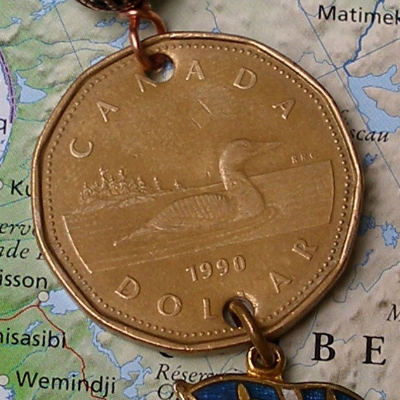 Canada, Vintage Coin - - Don't Call Me Crazy - - Loonie - Quebec - common loon - water foul - bird - money