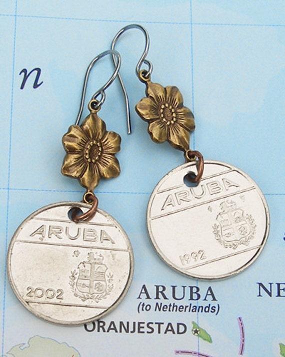 Aruba, Authentic Coin Earrings - - One Happy Island - - Caribbean Sea - Coastal Living - Island Hopping - Honeymoon Destination