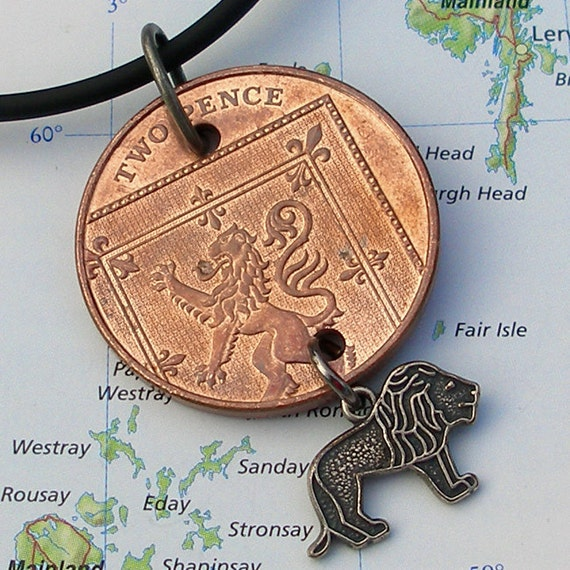 United Kingdom, Authenitc Coin Necklace - - Lion Rampant - - Scotland - King of Scots - UK - Europe - Beast - Travel Gifts - 2008