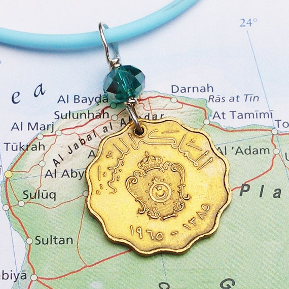 Libya, Vintage Coin Necklace - - Crossroads of History - - International Travel - World History - Georgraphy