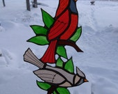 cardinals\/leaves stained glass suncatcher