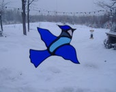blue jay, stained glass suncatcher