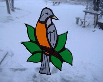 robin\/leaves, stained glass suncatcher