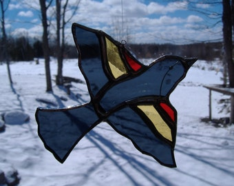 red-winged blackbird, stained glass suncatcher