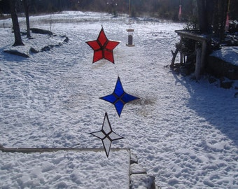 set of 3 flat stars, stained glass suncatchers