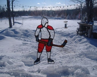 hockey player stained glass suncatcher