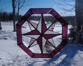 octagon stained glass suncatcher