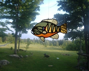 Pumpkinseed sunfish stained glass suncatcher