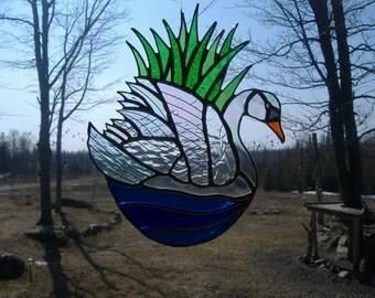 lg. swan stained glass suncatcher