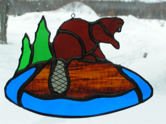 beaver, stained glass suncatcher