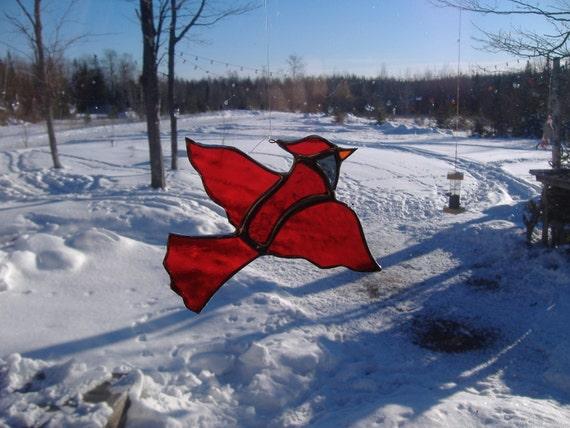 cardinal, stained glass suncatcher