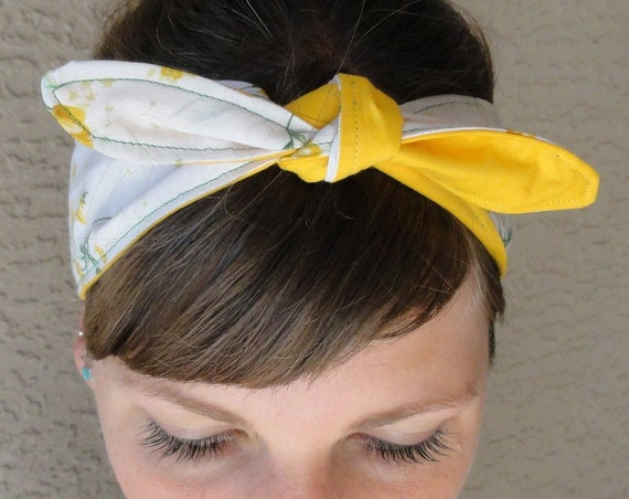 Delicate Floral / Yellow Reversible Oma Headband