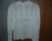switzerland crochet white victorian blouse by tramo ooak