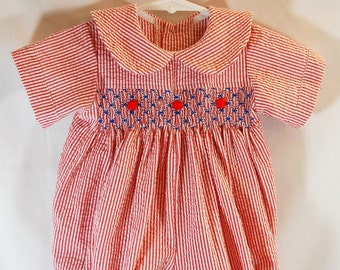 Hand Smocking Boy's Romper Outfit