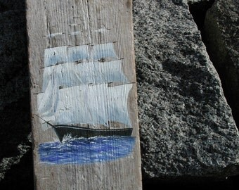 Hand Painted  Schooner Ship On Reclaimed Driftwood Wall Art, Home And Living Nautical Home Decor, Coastal Beach Cottage