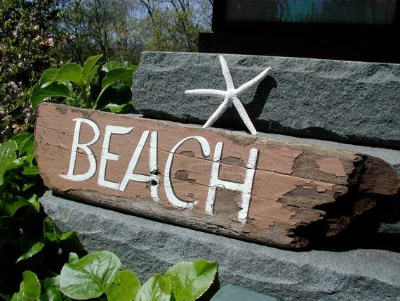 Handpainted Driftwood Beach Sign
