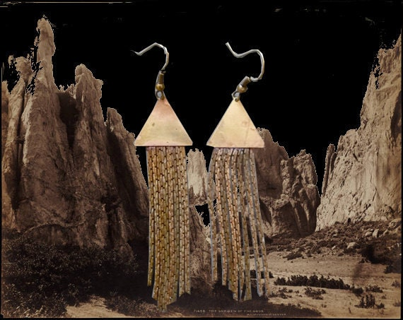 Shooting stars triangle fringe earrings