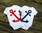 Anchor Baby Clothes - Nautical Twin Baby Onesies