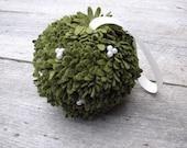 Holiday Decor - Mistletoe Kissing Ball - Wool Felt Holiday Decoration Jumbo Size