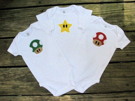 Super Mario Brothers Three Pack - Baby Shower Gift or Triplet Set