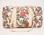 Birds and Flowers on this Creme Canvas Duffel Bag