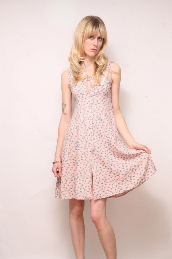 XS Pale Pink Floral Dress with Lace Collar