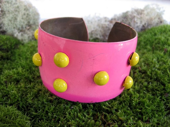 Studded Cuff 1 - Bright Pink and Yellow - Vintage 1970s - Set of Two Available