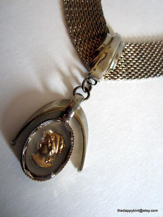 Midcentury Spacey Intaglio Necklace - Chevron Mesh Choker - Good Shape - Very Unique - FREE SHIP